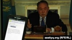 Пользователь читает SMS-массовое сообщение, что на поправки к земельному кодексу введен мораторий. Алматы, 6 мая 2016 года.