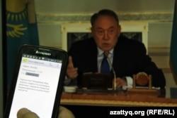 Президент Казахстана Нурсултан Назарбаев объявляет мораторий на земельную реформу. Фото с экрана монитора. Алматы, 6 мая 2016 года.