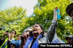 A demonstration against the presidential election in Almaty on May 1, which prompted the government to shut down the Internet in Kazakhstan.