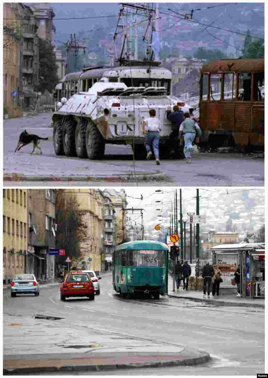 Three boys run behind a UN armored personnel carrier as it moves past a burned-out tram in Skenderia Square on August 10, 1993. Vehicles, including a tram, in the same square on April 1, 2012.
