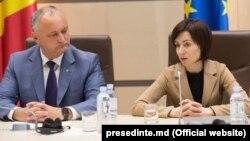 Președintele Igor Dodon și prim-ministrul Maia Sandru
