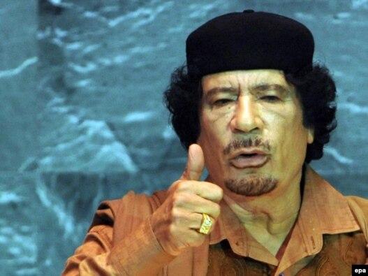 Ливия басшысы Муаммар Каддафи БҰҰ Бас Ассамблеясында. Нью-Йорк, 23 қыркүйек 2009 жыл.