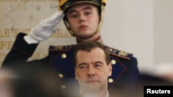 Президент России Дмитрий Медведев во время оглашения Послания Федеральному собранию, 22 декабря 2011 года.