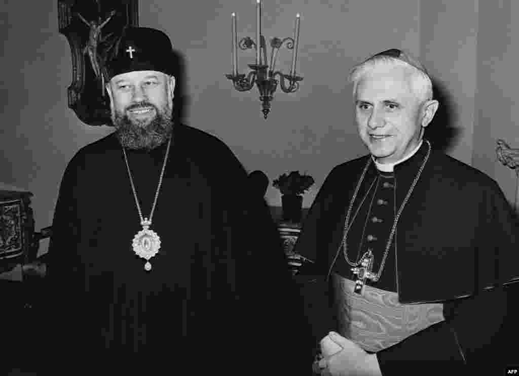 Cardinal Joseph Ratzinger meets with Russian Orthodox Archbishop Wladimir Dimitrowskij (left) during the Evangelic Academy in Tutzing, Germany, in April 1979.