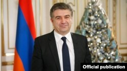 Armenia - Prime Minister Karen Karapetian delivers a New Year's address to the nation, 31Dec2016.