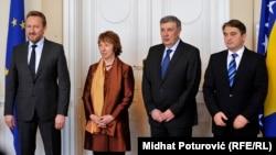 Cahterine Ashton u Sarajevu sa članovima Predsjedništva BiH, mart 2014.