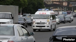 Armenia -- An ambulance races through streets of Yerevan, June 2, 2020.