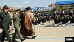 Iranian supreme leader Ayatollah Ali Khamenei at the graduation ceremony of army university in May.