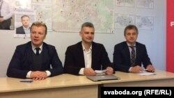 Віталь Рымашэўскі, Юрась Губарэвіч і Анатоль Лябедзька (зьлева направа)