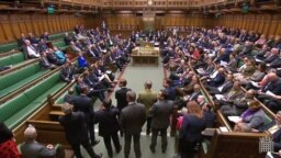 U.K. -- A video grab from footage broadcast by the UK Parliament's Parliamentary Recording Unit (PRU) shows MPs in the House of Commons in London on April 1, 2019, following the outcome of the second round of indicative votes on the alternative options fo