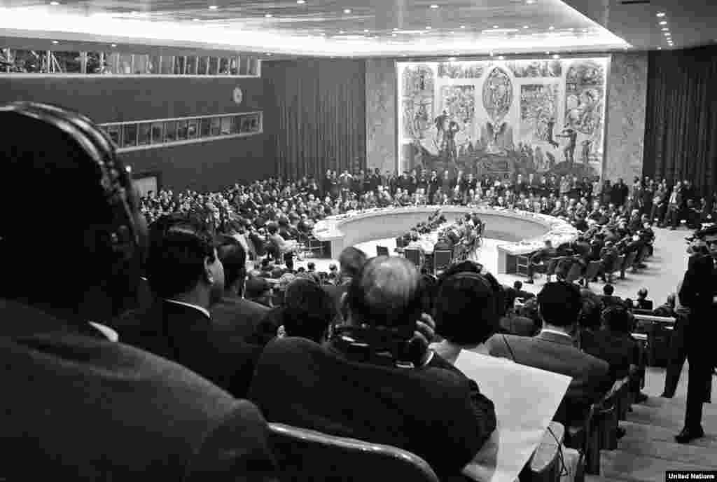 The UN Security Council meets in New York on October 23 to take up complaints by the United States, Cuba, and the Soviet Union.