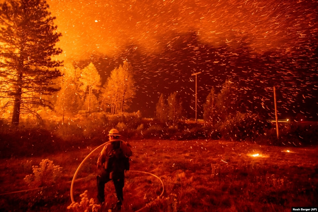 Embers fly above a firefighter as he works to control a backfire as the Delta Fire burns in the Shasta-Trinity National Forest, California, on September 6. The blaze had tripled in size overnight. (AP/Noah Berger)