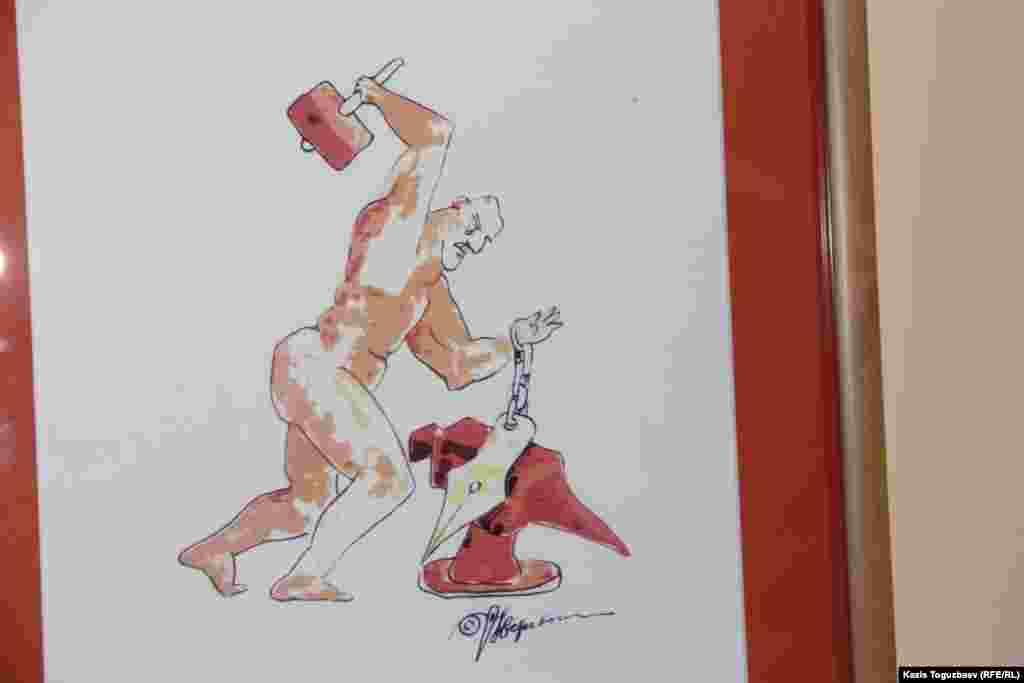 Алматылық суретші Николай Веревочкиннің цензураға қарсы күрес жайлы карикатурасы.
