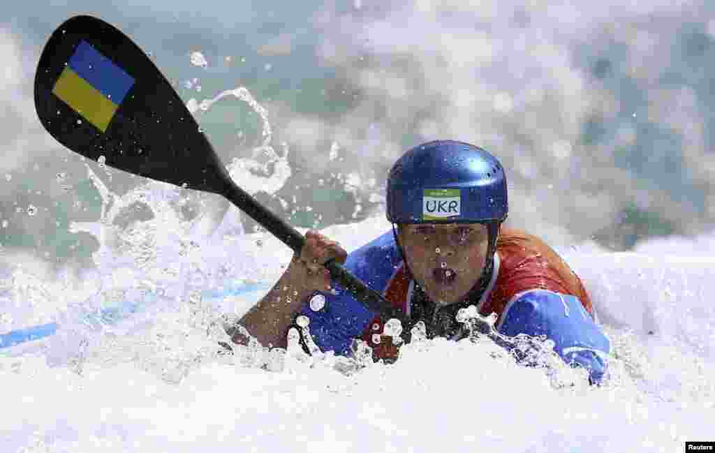 Viktoria Us of Ukraine competes in the women's K2 kayak semifinal.