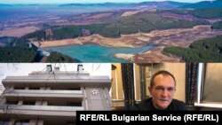 "Images from major Bulgarian Service reports (clockwise from top): What is left of the reservoir behind the Studena Dam; ""gambling czar"" Vasil Bozhkov; Letena buildng in Sofia, where officials bought suspiciously below-market luxury homes in what became known as ""Apartmentgate."""