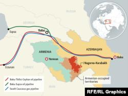 Карта трубопроводов из Азербайджана, проходящих рядом с территорией Нагорного Карабаха.