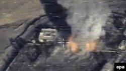 Pamje nga një sulm ajror i mëparshëm në provincën Raka në Siri