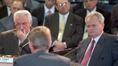 Bivši državnici: predsjednik Hrvatske Franjo Tuđman (lijevo) i Srbije Slobodan Milošević (desno), 1995.
