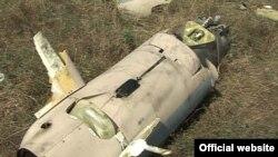 Nagorno-Karabakh - Wreckage of what Karabakh Armenian forces say was an Azerbaijani drone shot down on September 12, 14Sep2011