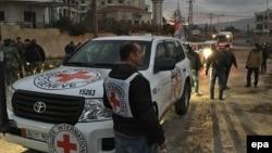 امدادرسانان صلیب سرخ جهانی در شهر مضایا