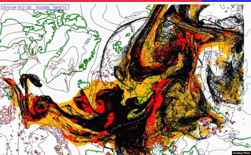 Projected spread of Icelandic ash cloud (19.4. 2100 UTC) - These images show a projection of the movement of the ash clouds from the Iceland volcanic eruption moving over Europe. The colors on the map represent: yellow: ash that has fallen by itself red: ash that has fallen by precipitation black: the actual ash cloud Source: Norwegian Meteorological Institute