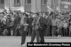 Фотамайстры 1990-х: Сяргей Грыц, Васіль Фядосенка, Ігар Макаловіч