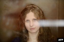 Alyokhina during a court hearing in Moscow on August 8, 2012