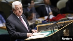 Palestinian Authority President Mahmud Abbas addresses the UN General Assembly on November 29.