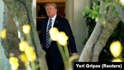 ԱՄՆ նախագահ Դոնալդ Թրամփը Սպիտակ տան բակում, Վաշինգտոն, 16-ը հոկտեմբերի, 2017թ․