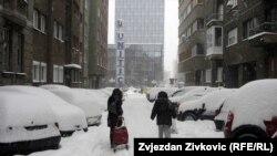 Қар басқан Сараево қаласы. 3 ақпан, 2012 жыл,