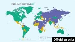 Карта из доклада Freedom in the World 2017.