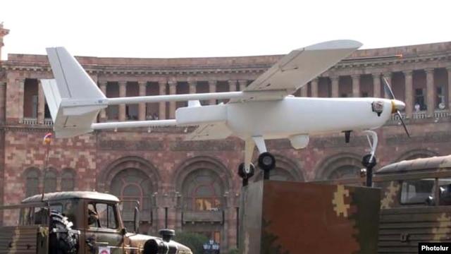Armenia - An Armenian-made drone is driven through Yerevan's Republic Square during a military parade rehearsal, 19Sep2011.