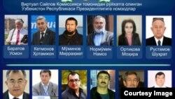 Өзбек активисттери уюштурган Виртуалдык шайлоо комиссиясы каттаган талапкерлер.