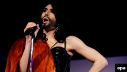 "Austrian Eurovision contender Conchita Wurst won with the ballad ""Rise Like a Phoenix"", before an international TV audience of around 180 million people in 45 countries."
