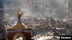 Палатки на Майдане Незалежности в Киеве, где с конца ноября продолжаются антиправительственные выступления. 4 февраля 2014 года.
