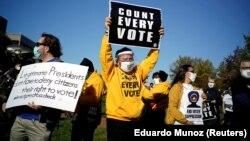 Демонстрация в Филадельфии (штат Пенсильвания, США) с требованием справедливого подсчета голосов.