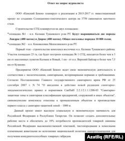 Татарстан авыл хуҗалыгы министрлыгының Азатлык соравына рәсми җавабы