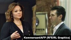 Natalya Veselnitskaya (left) met at Trump Tower in New York with Donald Trump Jr. (right) on June 9, 2016.
