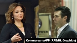 Russian lawyer Natalya Veselnitskaya (left) met at Trump Tower in New York with Donald Trump Jr. (right) on June 9, 2016.