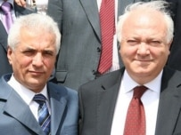 Moratinos (right) with Foreign Minister Zaripov in Dushanbe today (OSCE)