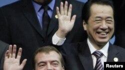 Дмитрий Медведев и премьер-министр Японии Наото Кан на саммите в Сеуле, 12 ноября 2010