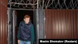 Российский оппозиционер Алексей Навальный после выхода из-под ареста на 20 суток. Москва, 14 октября 2018 года.