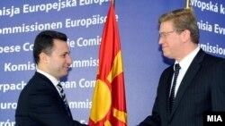 Премиерот Никола Груевски на средба со еврокоместарот за проширување Штефан Филе во Брисел