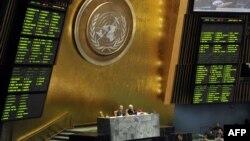 У залі Генасамблеї ООН після голосування, 2 квітня 2013 року
