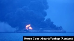 The Sanchi tanker ablaze in the East China Sea on January 7