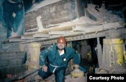 Ёнас Паслаўскас на шахтах у Салігорску