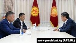 Сооронбай Жээнбеков, Канатбек Исаев жана Садыр Жапаров, 14-октябрь, 2020-жыл