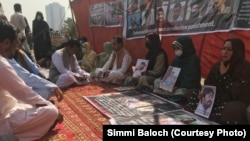 Relatives of Baluch victims of forced disappearances protesting in Islamabad on February 11.