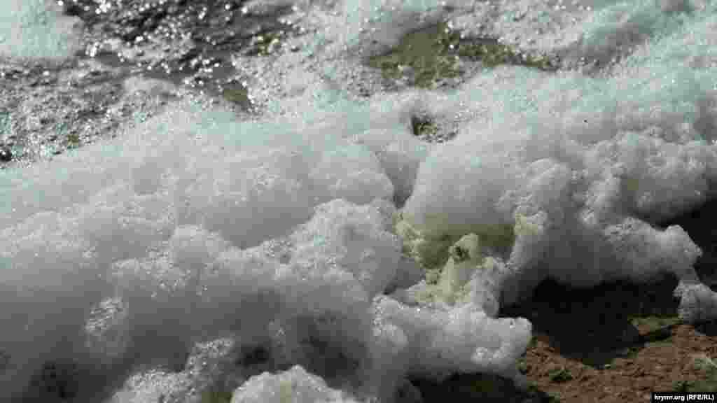 Піна озерного прибою іскриться на сонці