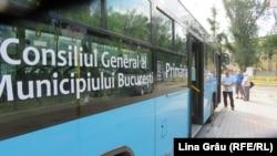 Reclamă a primăriei București pe autobuze